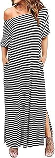 ZANZEA Women Summer Maxi Long Dress Casual Loose Kaftan Off Shoulder Sundress Beach Cover Up Dress