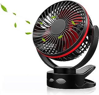 【新登場】Maxku USB扇風機 卓上扇風機 ミニ扇風機 充電式 USBファン クリップ 卓上 吊下げ 壁掛け 超強風 静音 大風量 4段階調節 360度角度調整 長時間連続使用 LEDライト機能付き(ブラック)