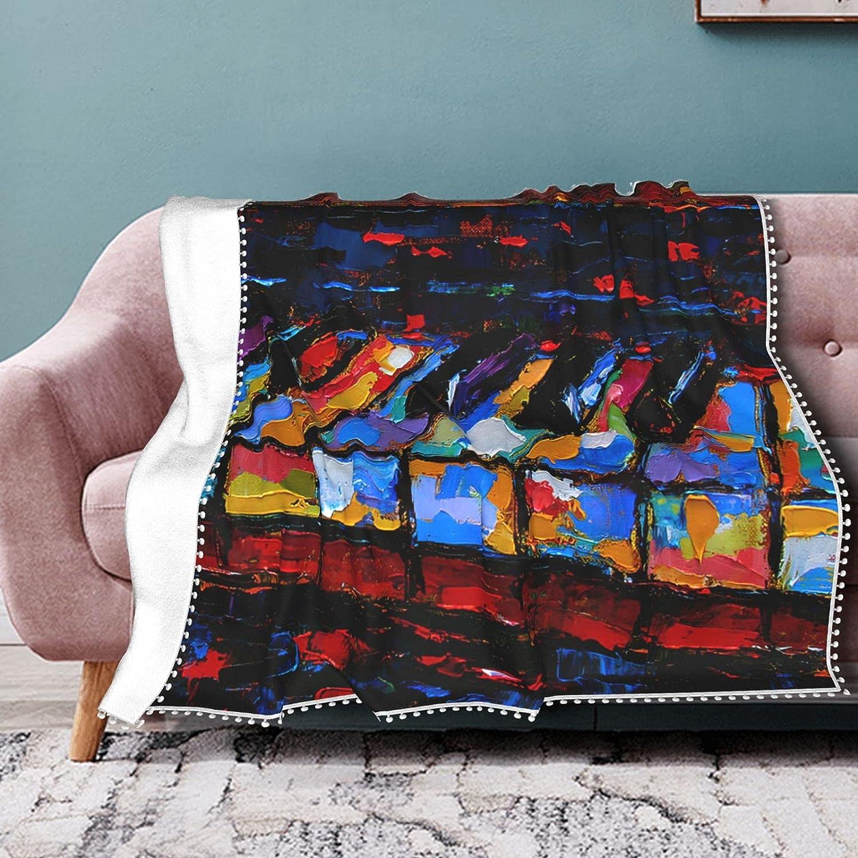 Piano shipfree Keys Painting Blanket Max 73% OFF Fleece Pompom Fri with Throw