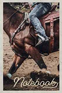 Notebook: Bronc riding Rodeo Events Professional Composition Book Journal Diary for Men, Women, Teen & Kids Vintage Retro Design for Bucking Horse and Barrel racing fans