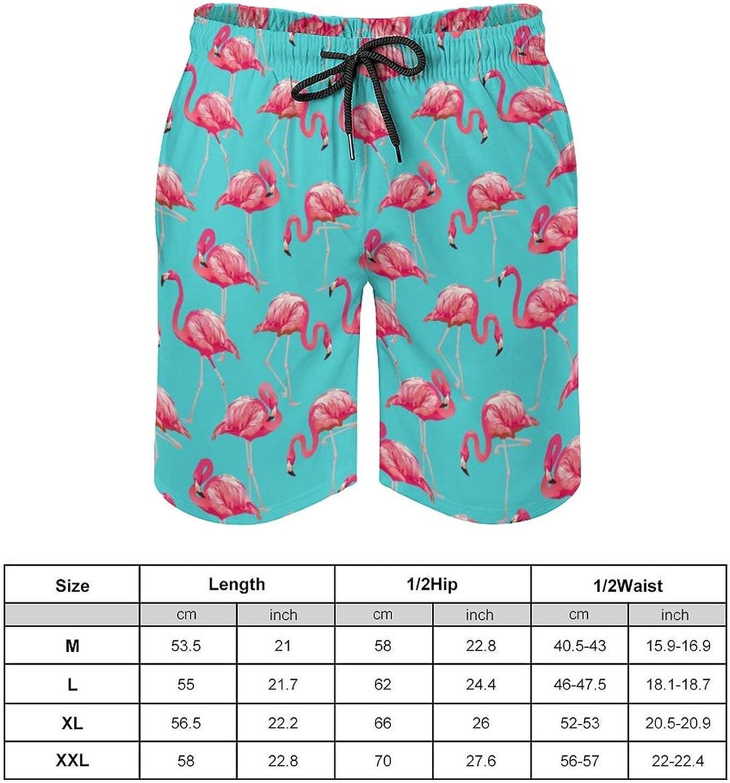 SWEET TANG Men's Swim Trunks Long Board Shorts Beach Swimwear Bathing Suits with Pockets, Pink Flamingos