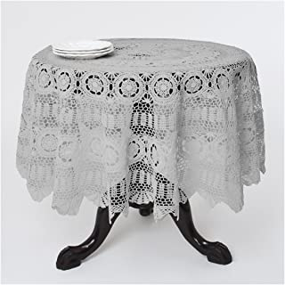Handmade Crochet Lace Tablecloth. 100% Cotton Crochet. Grey, 45 Inch Round, Table Topper, 1 Piece.