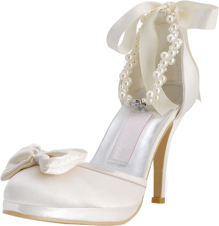 b056dae8c57fe Minishion MZ610 Womens Toe Heel Ankle Strap Ribbon Bridal Wedding ...