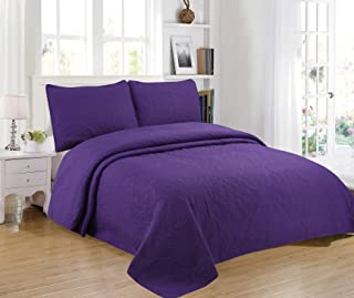 Sapphire Home 3-Piece Full/Queen Oversize Bedspread Coverlet Bedding Set w/2 Shams, Soft Touch, Solid, Stylish Embossed Pattern, All-Season Oversize Comforter Bed Cover, Emma Queen Purple