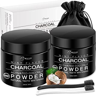 BESTOPE 2 Pack Charcoal Teeth Whitening Powder, Natural Activated Coconut Charcoal Teeth Whitener Powder with 2 Brush Oral Care Set (2.8 oz x 2)
