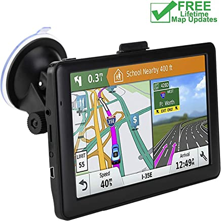 Car GPS Navigation, 7-inch High-Definition Display 256MB-8GB Real Voice Broadcast Route Top oading US map (Lifetime Map Free Update)