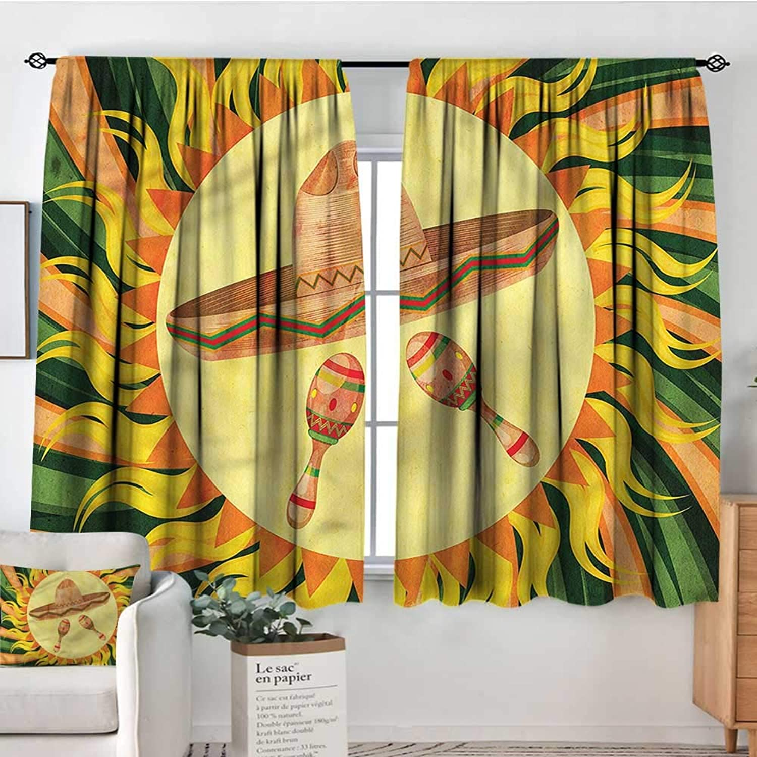 Anzhutwelve Mexican,Curtain rods Hippie Sombrero 42 X63  Backout Draperies for Bedroom