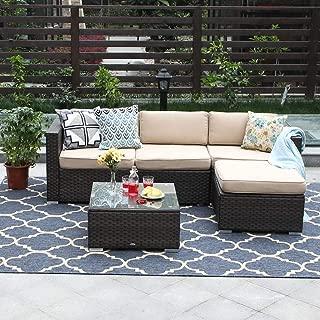 PHI VILLA 5-Piece Patio Furniture Set Rattan Sectional Sofa with Tea Table, Ottoman, Beige