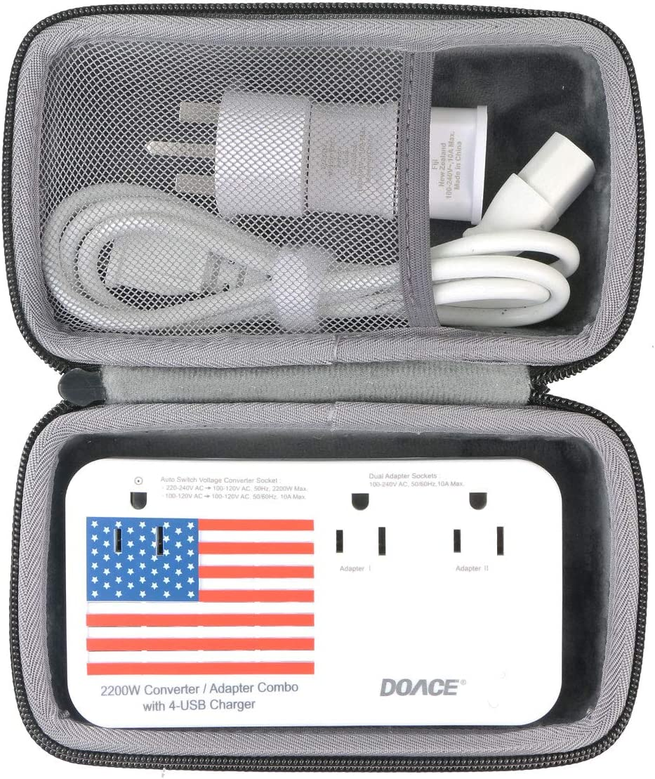 co2crea Hard Travel Case Replacement for DOACE 2019 Professional 2200W Voltage Converter All-in-One Converter Step Down 220v to 110v Power 10A Dual Adapter International Plug Converters