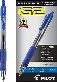 قلم جوهر خلبان خلبان G2 ، قابل جمع شدن ، قابل شارژ ، جوهر آبی ، ریز 0.7 میلی متر - Dozen Pack