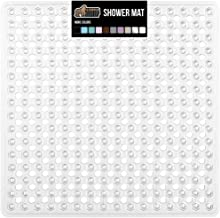 Gorilla Grip Patented Shower Stall Mat, 21x21 Bath Tub Mats, Washable, Square Bathroom Mats for Showers with Drain Holes, Suction Cups, Clear