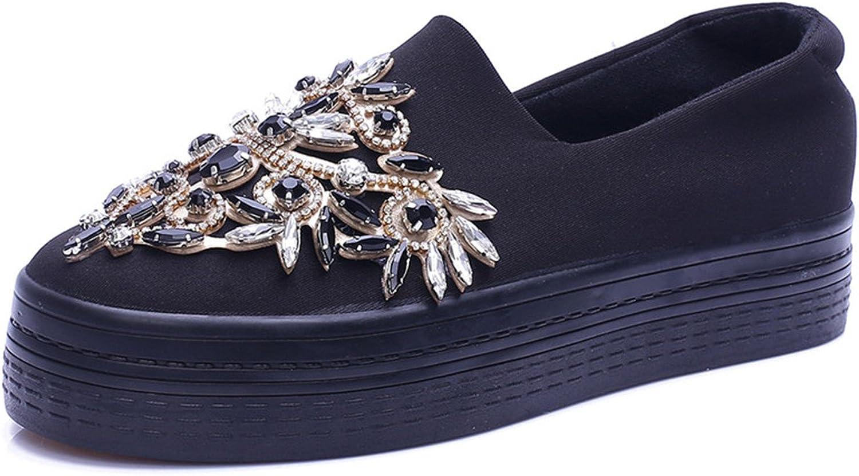 Ladiamonddiva New Rhinestone Women Platform shoes Breathable Black shoes Creeper for Lady slipony Slip on Thick Sole Luxurious Flats