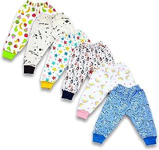 BAYBEE Baby Cotton Pyjamas Pant Bottom Rib-Pack of 6 Assorted Colours & Prints May Vary Sleep Pants-Pyjama for Boys and Gi...
