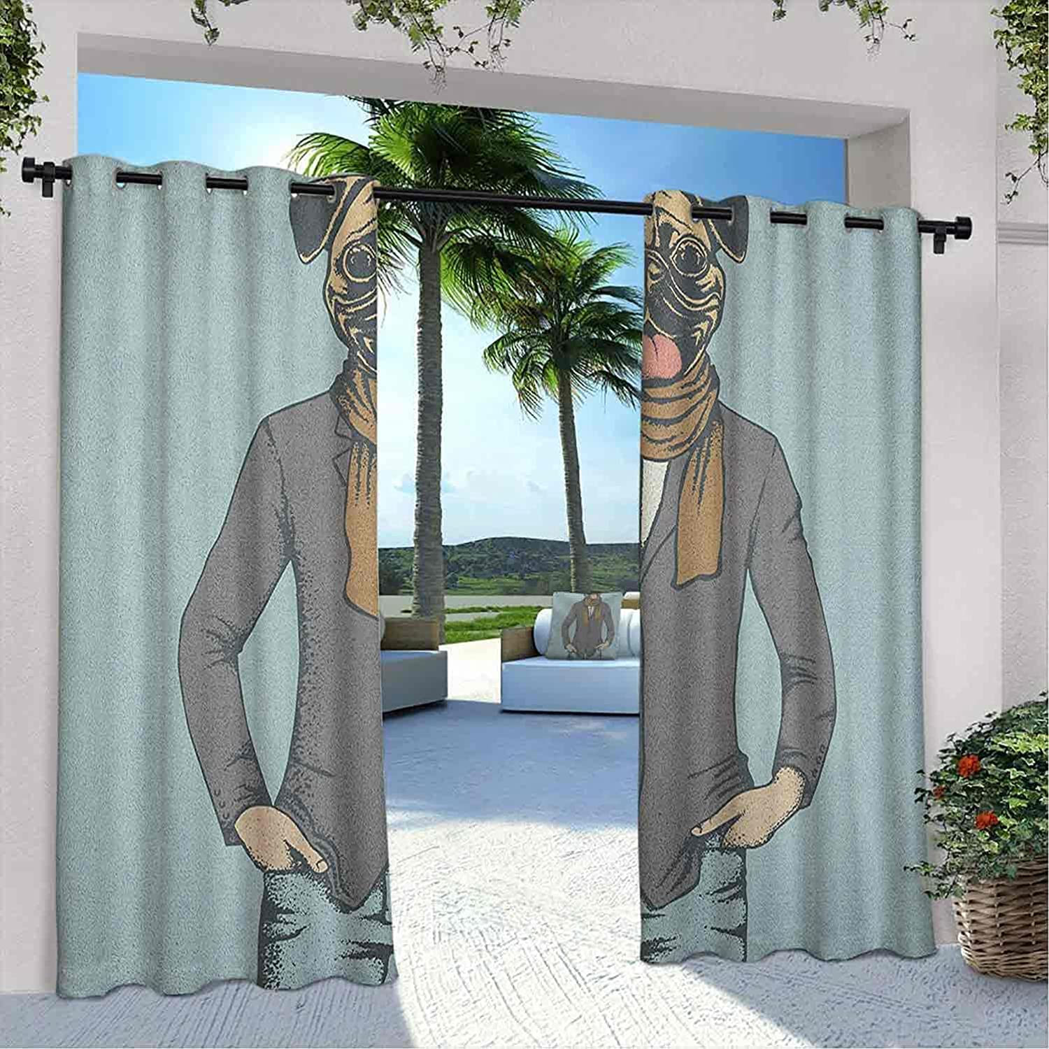 Ranking TOP4 Max 54% OFF Outdoor Privacy Pug Curtain Abstract Image a with Dog Human of