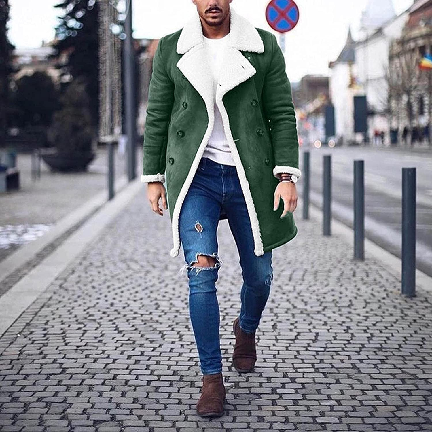 PHSHY Mens Fuzzy Fleece Faux Fur Jacket Coat Shearling Shaggy Softshell Jacket Winter Thermal Thick Overcoat Outwear
