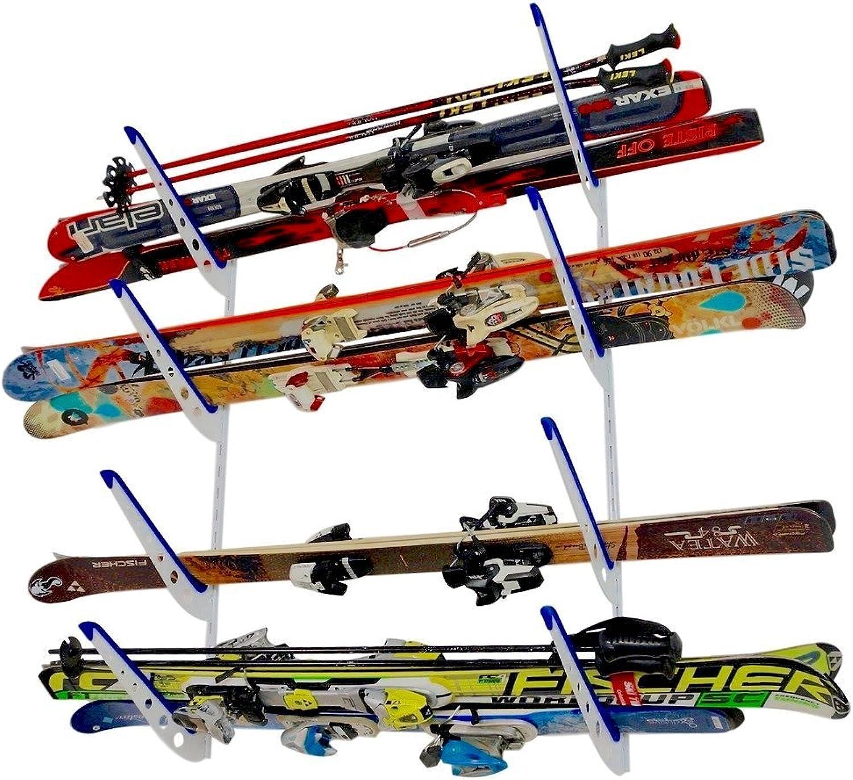 Metal Ski Storage Rack   Adjustable Skis Home Wall Mount   StoreYourBoard