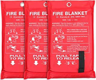 Jucoan 3 Pack Fire Blanket, 40x40 Inches Fiberglass Fire Suppression Blanket, Flame Retardant Protection and Heat Insulati...
