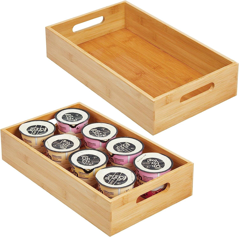 mDesign Juego de 2 cajas organizadoras con asas – Práctico cajón de madera para almacenar alimentos, especias, nueces o botellas – Organizador de cocina abierto en madera de bambú – color bambú