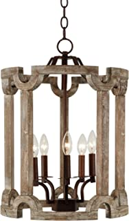 Vintage 5-Light Wood and Metal Ceiling Pendant Chandelier Rustic Iron and Wooden Candle Holders Chandeliers for Kitchen Island, Bedroom, Living Room, Foyer