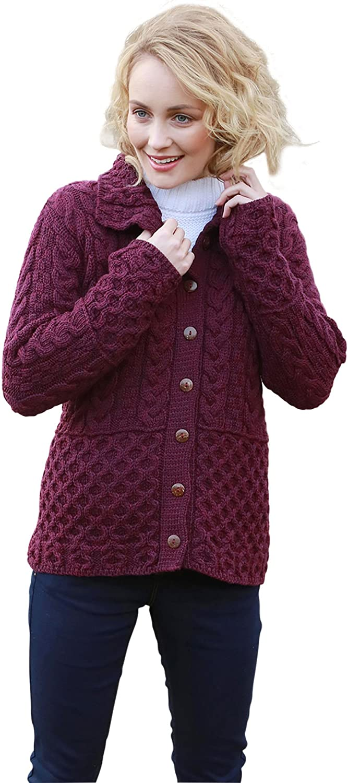 Ladies Irish Honeycomb Aran Wool Cardigan (XSmal, Very Berry)