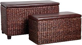 Premier Housewares - Juego de 2 baúles con Tapa Acolchada (73 x 40 x 45 cm)