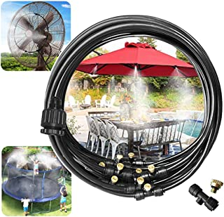 """Viya Misting Cooling System 32.8FT(10M) with 12 Copper Metal Mist Nozzles and a Connector(3/4"""") for Trampoline Patio Misting Micro Flow Watering Automatic Distribution System (32.8)"""