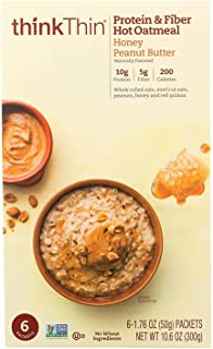 THINK! THIN, Protein And Fiber Oatmeal, Honey Peanut Butter, Pack of 6, Size 6/1.76OZ, (GMO Free Kosher Wheat Free)