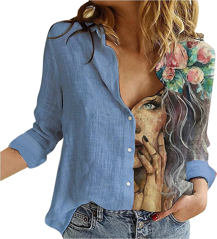 FORUU Long Sleeve Shirt 2021,Fall Winter Cotton and Linen Womens Blouse Color Block Casual Patchwork Linen Shirts