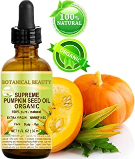 SUPREME ORGANIC PUMPKIN SEED OIL .100% Pure / EXTRA VIRGIN / UNREFINED / Natural / Undiluted Cold Pressed Carrier Oil for Skin, Hair, Lip and Nail Care. 1 Fl.oz.- 30 ml. Botanical Beauty
