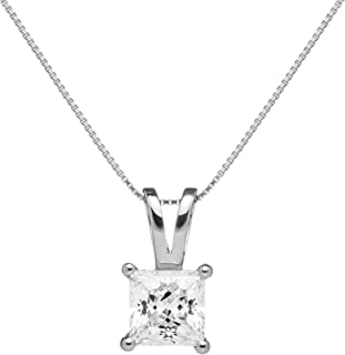 14K Solid Gold Pendant Necklace   Princess Cut Cubic Zirconia Solitaire   16 Inch or 18 Inch Box Link Chain   With Gift Box