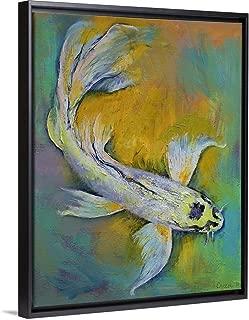 Kujaku Butterfly Koi Black Floating Frame Canvas Art, 13