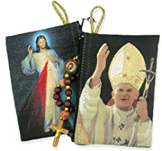 Religious Gifts Saint John Paul II with Divine Mercy Icon Cloth Tapestry Rosary Pouch, 5 3/8 Inch