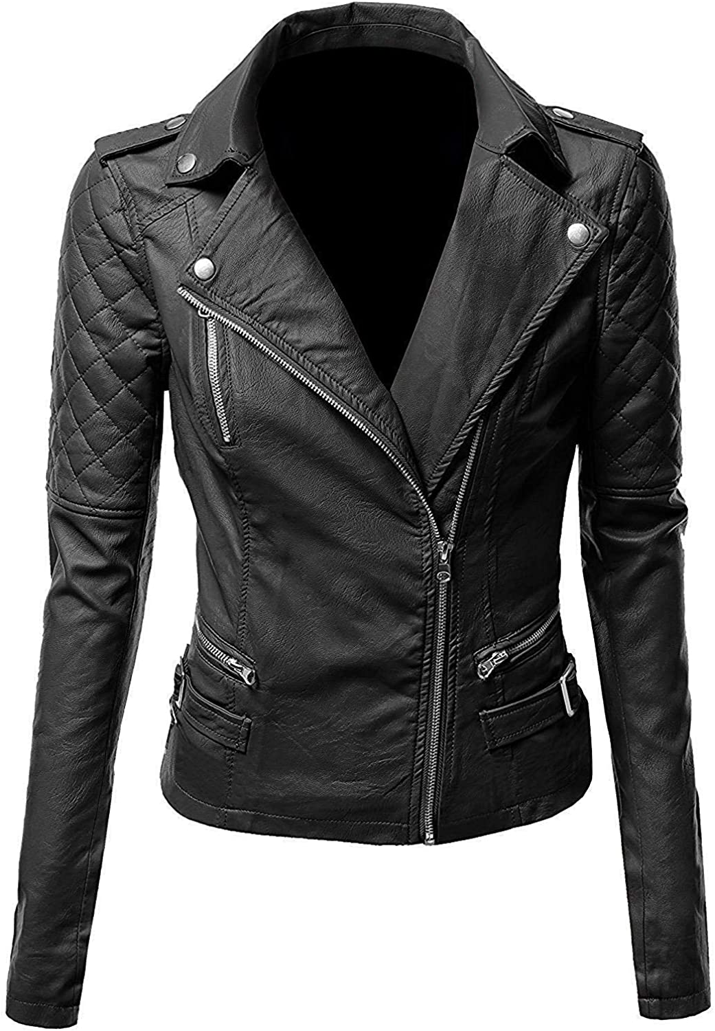 Ribi's Notch Collar Quilted Biker Leather Jacket for Women