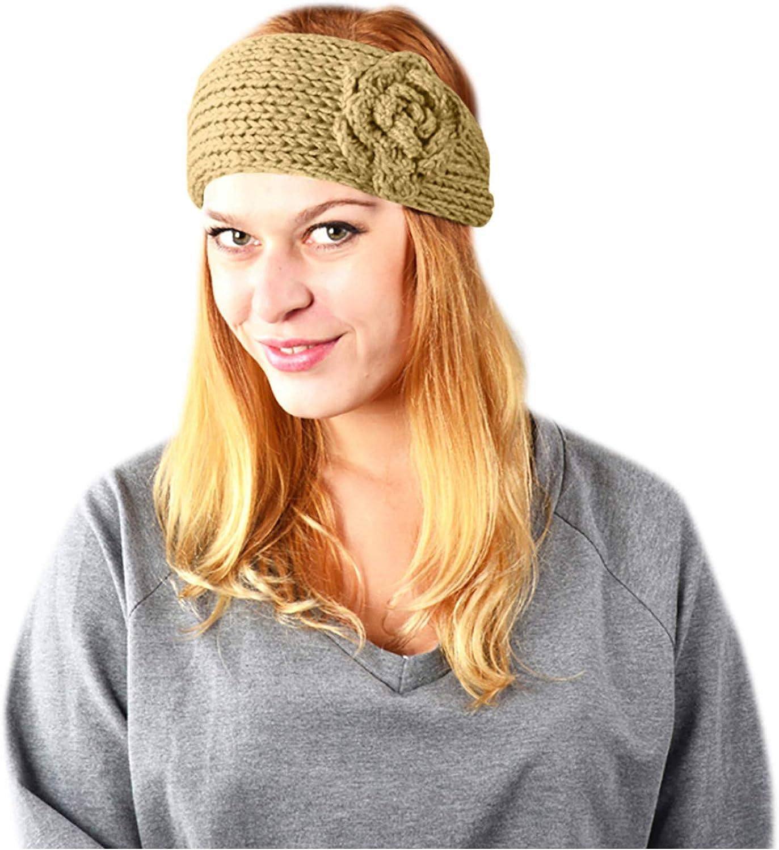 HUOJING Women's Elastic Handbands Button Knitted Flower Hairband Sports Head Wrap Winter Ear Warmer