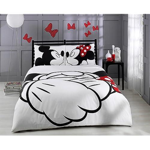 Bepoe HT - Set copripiumino, collezione Disney Topolino e Minnie, 6 pezzi, 100% cotone, per letto matrimoniale misura piena, lenzuola di lino