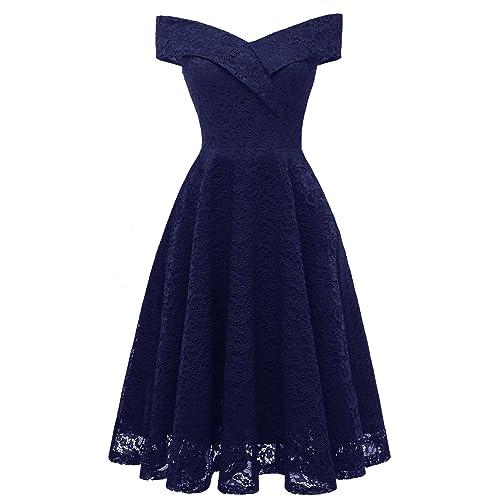 d2dea0cba4ed Aibwet Women's Vintage Dresses Floral Lace Off Shoulder Boat Neck Cocktail  Formal Swing Dress