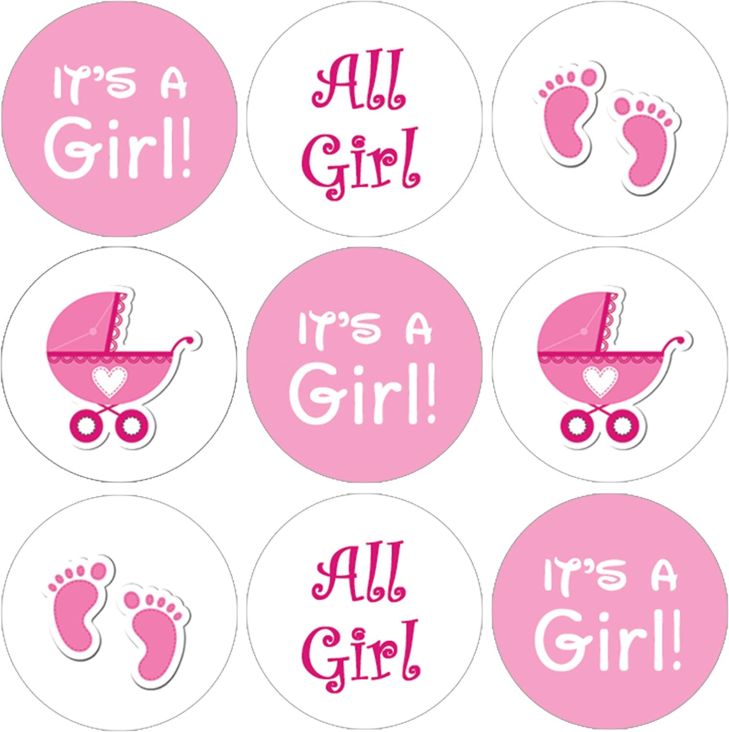 Envelope Seal Package Sticker It/'s a Girl Stickers Baby Girl Pink Favor Bag Gift Label Baby Shower Favor Bag Circle Sticker