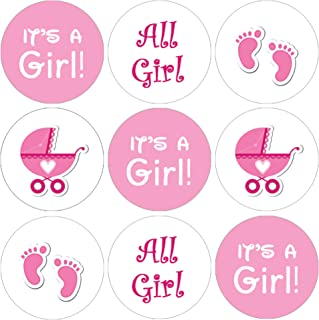 It's a Girl Baby Shower Favor Stickers - Pink Footprint Theme - 180 Count