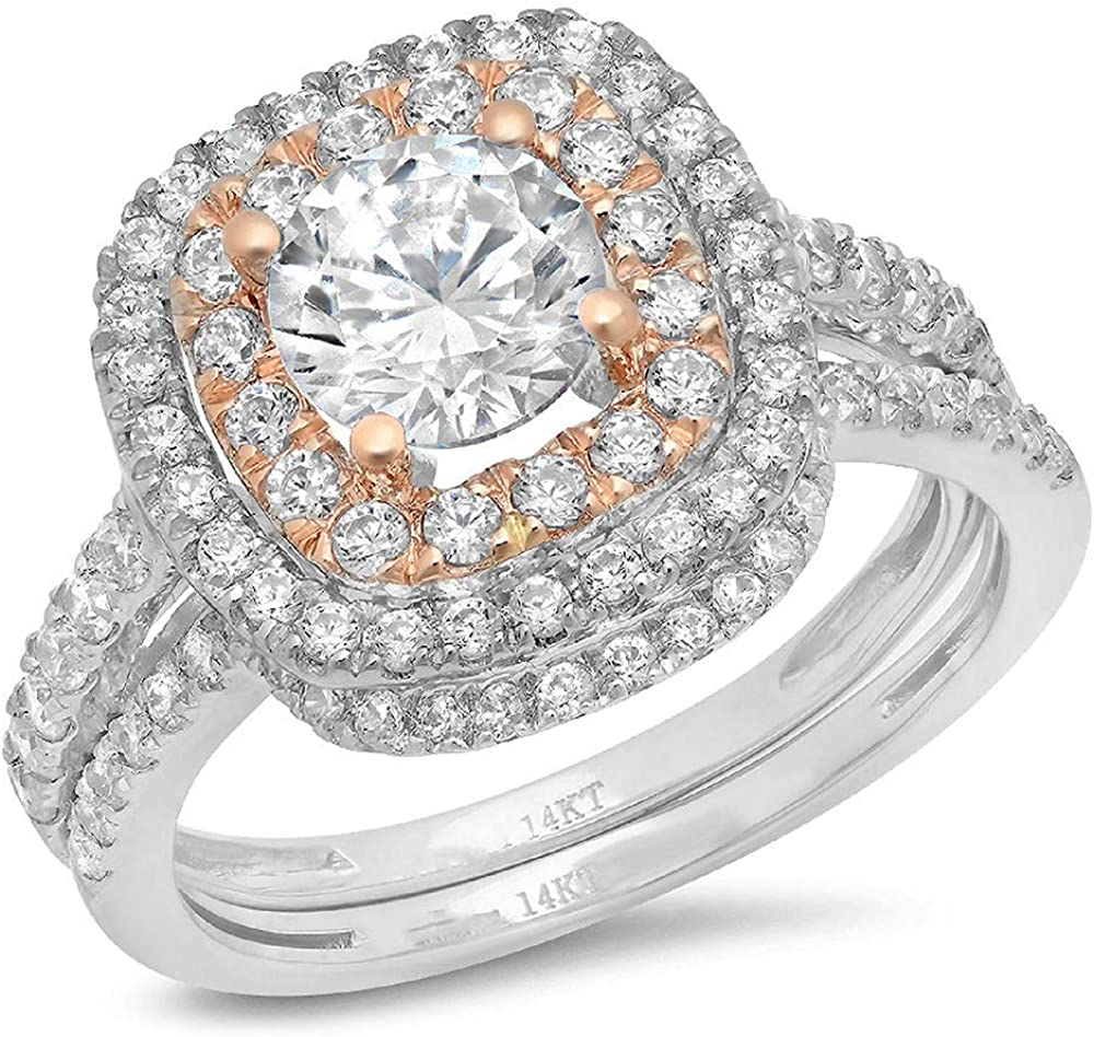 1.80 CT Round Cut CZ Pave Double Halo Designer Classic Ring Band Set Solid 14k Multi White Rose Gold