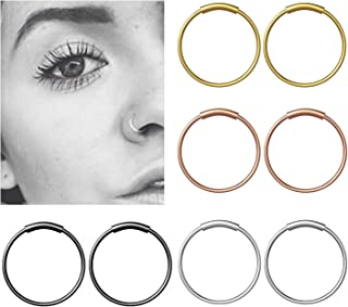 YHmall Edelstahl Nasenpiercing Nasenring Fake Septum Piercing Scharnier Clicker Hoop Lippen Ohr Ring - 8mm MEHRWEG