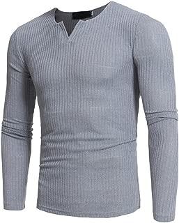 ZEFOTIM Man's Autumn Winter Casual V-Neck Men's Slim Sweaters Tops Blouse