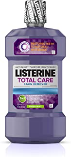 Listerine Total Care Whitening Mouthwash, 6 Benefit Fluoride Anticavity Mouthwash for Stain Removal and Bad Breath, Fresh Mint Flavor, 16 fl. oz