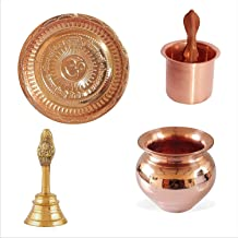 Combo Copper Puja Thali Panch patra | lota Indian Cultural Religious Item Best for Temple Home