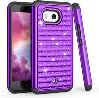 TILL for HTC U11 Case, U11 Cover, TILL(TM) Studded Rhinestone Crystal Bling Diamond Sparkly Luxury Shock Absorbing Hybrid Dual Layer Rugged Defender Cute Glitter Case Cover for HTC U11 5.5INCH -Purple