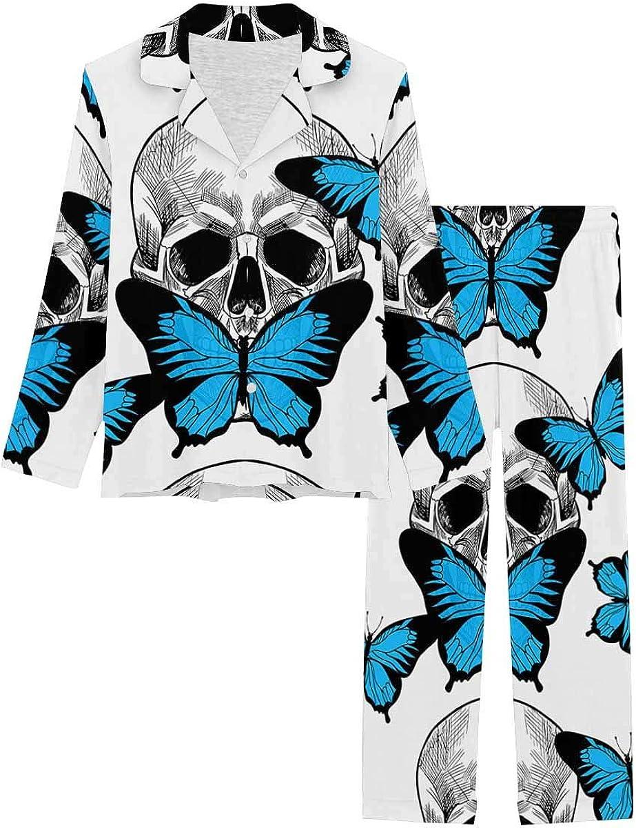 InterestPrint Long Sleeve Nightwear Button Down Loungewear for Women Skull and Beautiful Blue Butterfly