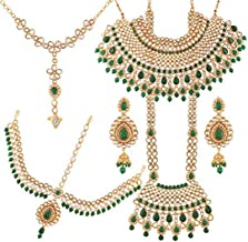 Aheli Indian Bridal Jewelry Set Faux Kundan Long Choker Necklace Dangle Earrings Mathapatti Headpiece Haath Phool with Nose Ring (Green)