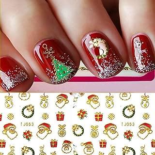 Christmas Nail Stickers - 380PCS 3D Metal Design Self-adhesive Nail Decals Snowflakes Snowmen Santa Xmas Tree Nail Art Stickers Tips Stencil DIY Decoration for Women Kids(10 Sheets)