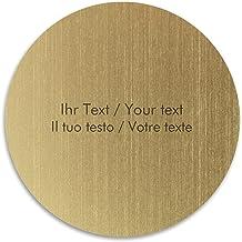 Gravureplaatje met persoonlijke tekst, kunststof bord goud-metallic/zwart, rond, diverse maten - deurbordje, belbordje, na...