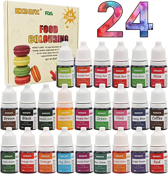 食品色素 24 色彩虹翻糖蛋糕食品色素套装用于烘焙装饰糖衣和烹饪霓虹液体食品染料用于粘液制作套件和 DIY 工艺品 25 盎司 6毫升瓶