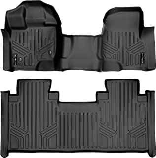 SMARTLINER Custom Fit Floor Mats 2 Row Liner Set Black for 2015-2019 Ford F-150 SuperCab with 1st Row Bench Seat